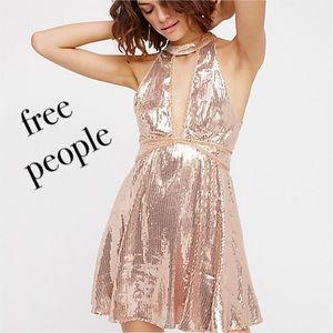 Free People Film Noir Sequin Mini Dress in Rose
